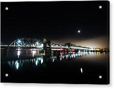 Steel Bridge Moon Acrylic Print by Ty Helbach