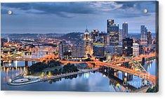 Steel City Panorama Acrylic Print by Adam Jewell