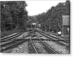 Steel Rail Intersections.   Point Of Rocks Md Acrylic Print