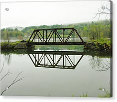 Acrylic Print featuring the photograph Vermont Steel Railroad Trestle On A Calm  Misty Morning by Sherman Perry