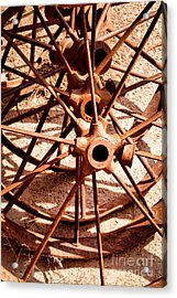 Steel Spokes Acrylic Print by Lawrence Burry