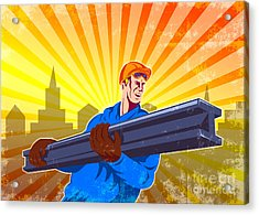 Steel Worker Carry I-beam Retro Poster Acrylic Print by Aloysius Patrimonio