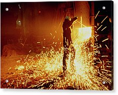 Steel Worker With Open-hearth Furnace Acrylic Print