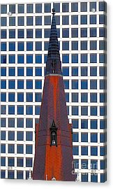 Acrylic Print featuring the photograph Steeple And Office Building by Janette Boyd