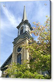Acrylic Print featuring the photograph Steeple Church Arch Windows by Becky Lupe