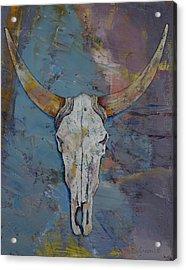 Steer Skull Acrylic Print by Michael Creese