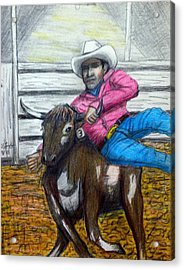 Steer Wrestling Original For Sale Acrylic Print by Larry Lamb