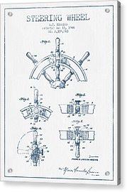 Steering Wheel Patent Drawing From 1944   -  Blue Ink Acrylic Print