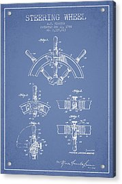 Steering Wheel Patent Drawing From 1944  - Light Blue Acrylic Print