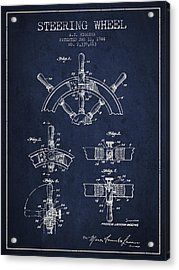 Steering Wheel Patent Drawing From 1944  - Navy Blue Acrylic Print