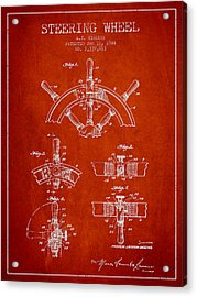 Steering Wheel Patent Drawing From 1944  - Red Acrylic Print