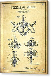 Steering Wheel Patent Drawing From 1944  - Vintage Acrylic Print