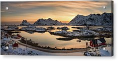 Steinefjord At Sunset, Lofoten Acrylic Print by Panoramic Images