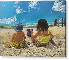 Acrylic Print featuring the painting Stella And Sal by Kevin F Heuman