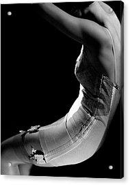 Stella Bayliss Modeling A Corset Dress Acrylic Print by Edward Steichen