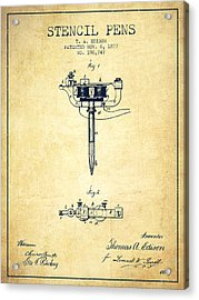 Stencil Pen Patent From 1877 - Vintage Acrylic Print by Aged Pixel