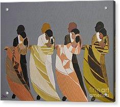 Stepping Acrylic Print by Barbara Hayes