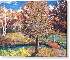 Acrylic Print featuring the painting Stepping Into Autumn by Kevin F Heuman
