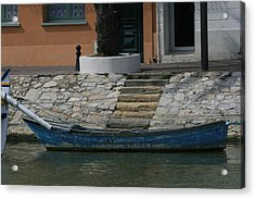 Steps To Blue Boat Acrylic Print