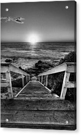Steps To The Sun  Black And White Acrylic Print by Peter Tellone