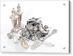 Sterling Silver Scrap Acrylic Print by Gunter Nezhoda