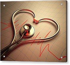 Stethoscope In Heart Shape Acrylic Print by Ktsdesign