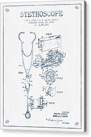 Stethoscope Patent Drawing From 1966 - Blue Ink Acrylic Print by Aged Pixel