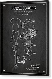 Stethoscope Patent Drawing From 1966- Dark Acrylic Print by Aged Pixel