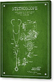 Stethoscope Patent Drawing From 1966- Green Acrylic Print by Aged Pixel