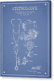 Stethoscope Patent Drawing From 1966- Light Blue Acrylic Print by Aged Pixel