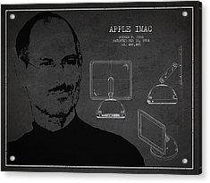 Steve Jobs Imac  Patent - Dark Acrylic Print by Aged Pixel