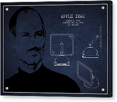 Steve Jobs Imac  Patent - Navy Blue Acrylic Print by Aged Pixel