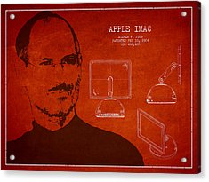 Steve Jobs Imac  Patent - Red Acrylic Print by Aged Pixel