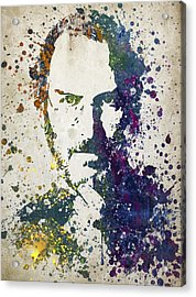 Steve Jobs In Color 02 Acrylic Print by Aged Pixel