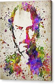 Steve Jobs In Color Acrylic Print by Aged Pixel