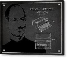 Steve Jobs Personal Computer Patent - Dark Acrylic Print by Aged Pixel