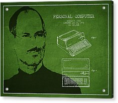 Steve Jobs Personal Computer Patent - Green Acrylic Print by Aged Pixel