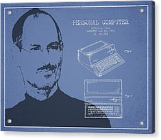 Steve Jobs Personal Computer Patent - Light Blue Acrylic Print by Aged Pixel