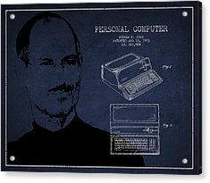 Steve Jobs Personal Computer Patent - Navy Blue Acrylic Print by Aged Pixel