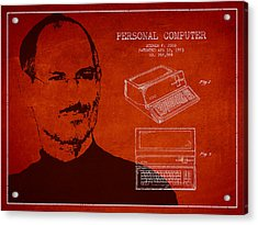 Steve Jobs Personal Computer Patent - Red Acrylic Print by Aged Pixel