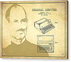Steve Jobs Personal Computer Patent - Vintage Acrylic Print by Aged Pixel