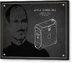 Steve Jobs Power Mac Patent - Dark Acrylic Print by Aged Pixel