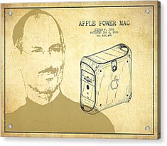 Steve Jobs Power Mac Patent - Vintage Acrylic Print by Aged Pixel