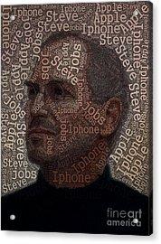 Steve Jobs Text Art Acrylic Print by Boon Mee