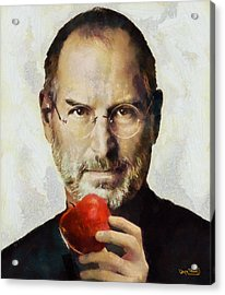 Acrylic Print featuring the painting Steve Jobs  by Wayne Pascall