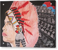 Acrylic Print featuring the painting Steven Tyler As A Chrerokee Indian by Jeepee Aero