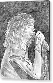 Steven Tyler Concert Drawing Acrylic Print by Jeepee Aero