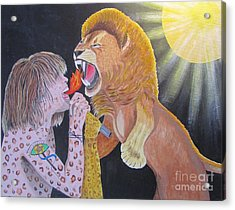 Steven Tyler Versus Lion Acrylic Print by Jeepee Aero