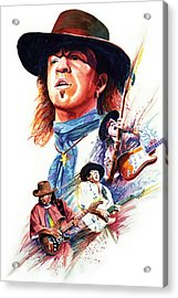 Stevie Ray Vaughn Acrylic Print by Ken Meyer jr
