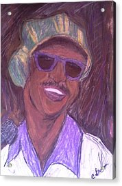 Acrylic Print featuring the drawing Stevie Wonder 2 by Christy Saunders Church